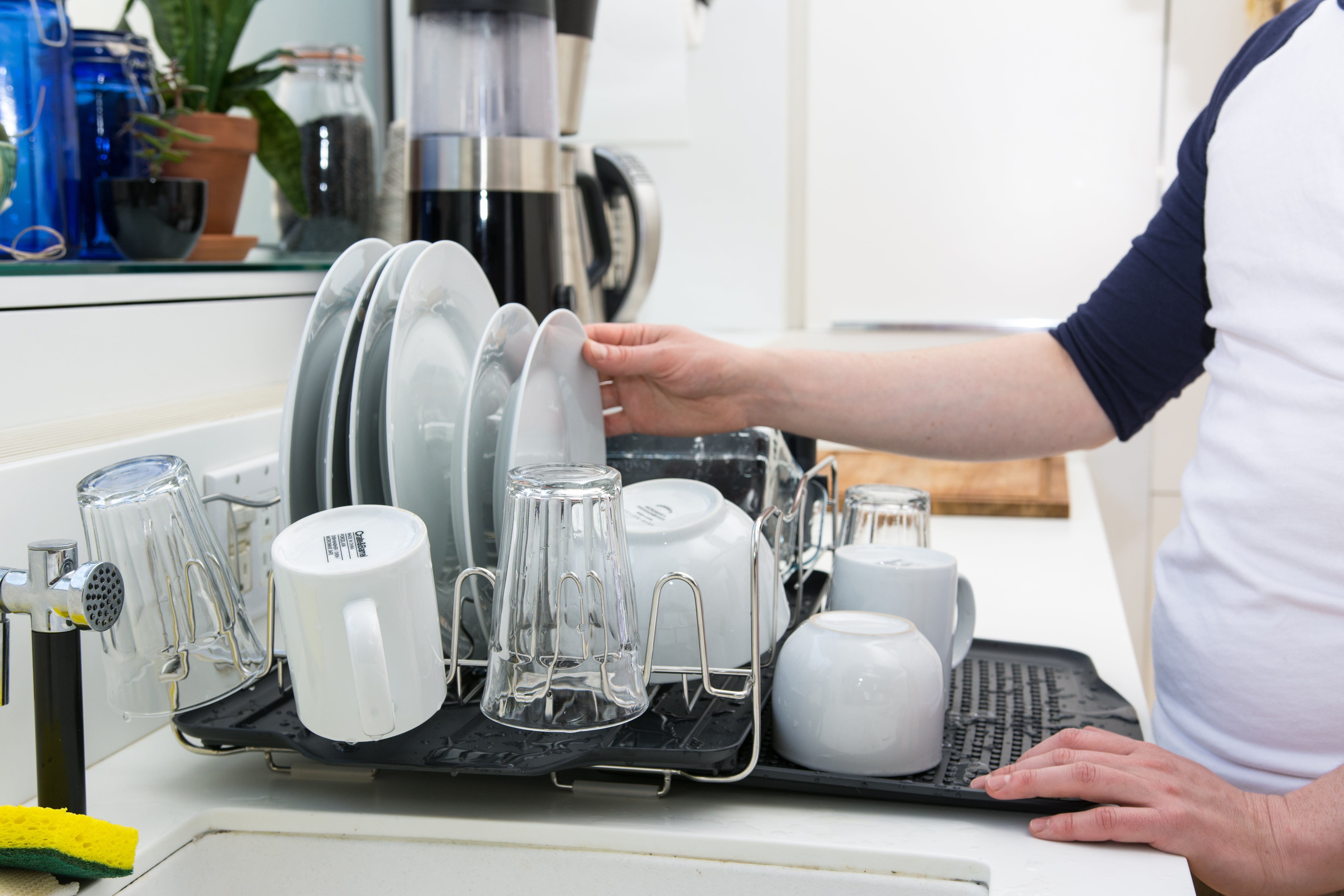 dishes on a dish rack