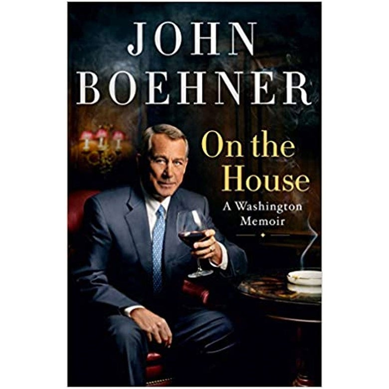 On the House book cover with John Boehner holding a glass of red wine in a dark, smoke-filled room