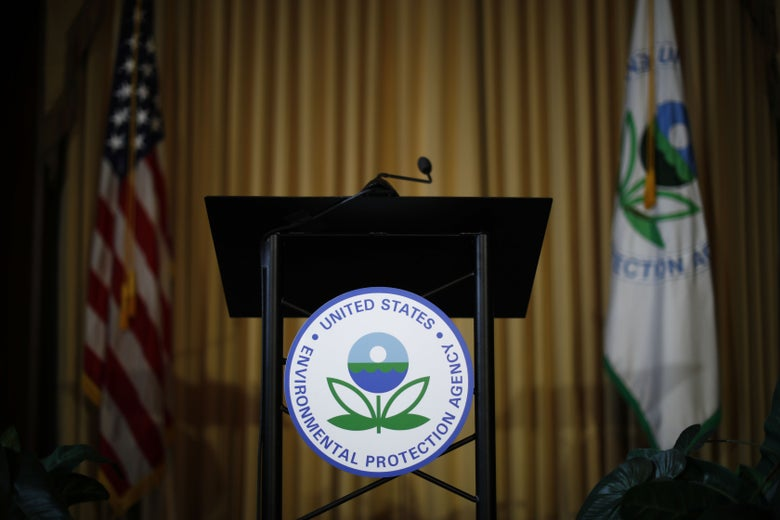 An empty podium at the EPA headquarters