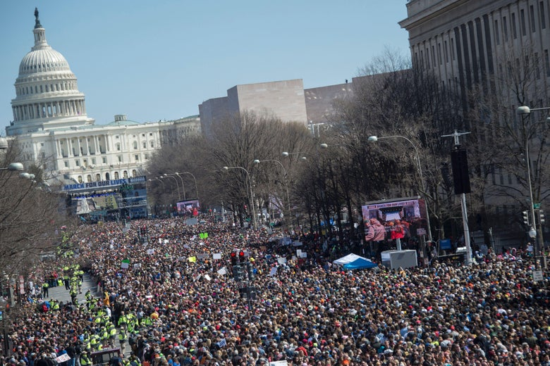 People take part in the March For Our Lives rally against gun violence in Washington, DC on March 24, 2018.