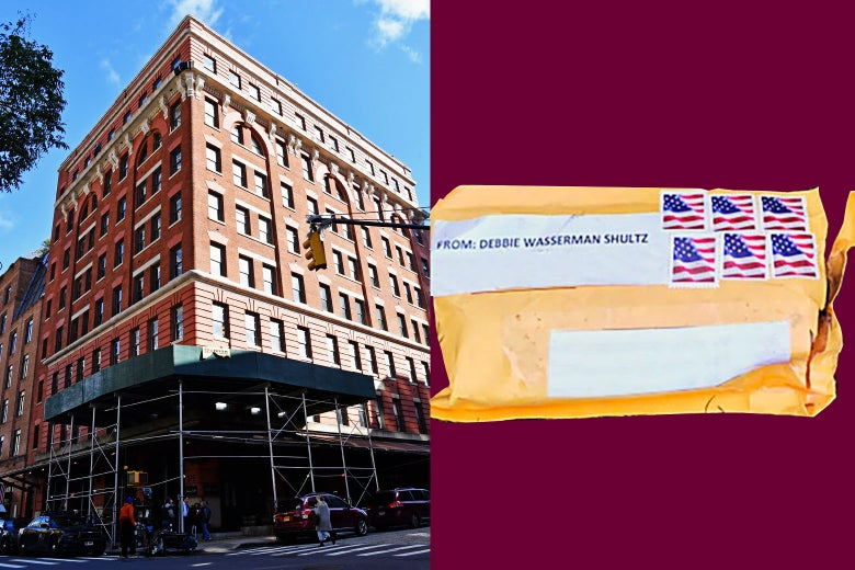 A view of the building that houses Tribeca Productions and Tribeca Grill owned by actor Robert De Niro on October 25, 2018 in New York City and an undated handout photo supplied by the Federal Bureau of Investigation (FBI), one of the package bombs that had been sent to many critics of President Donald Trump.
