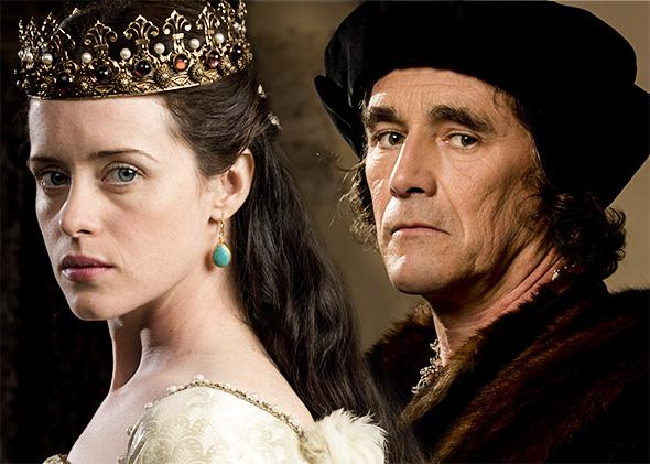 Claire Foy as Anne Boleyn and Mark Rylance as Thomas Cromwell in Wolf Hall.