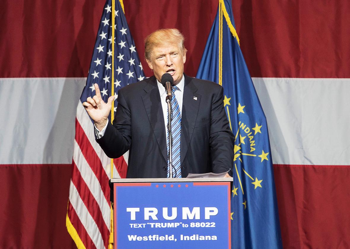 Republican presidential candidate Donald Trump speaks at the Grand Park Events Center on July 12, 2016 in Westfield, Indiana.