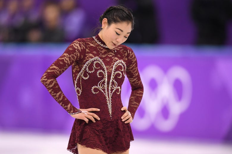 GANGNEUNG, SOUTH KOREA - FEBRUARY 21:  Mirai Nagasu of the United States competes during the Ladies Single Skating Short Program on day twelve of the PyeongChang 2018 Winter Olympic Games at Gangneung Ice Arena on February 21, 2018 in Gangneung, South Korea.  (Photo by Harry How/Getty Images)
