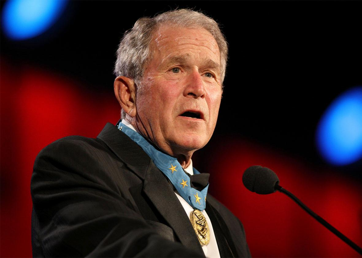 George W. Bush talking to party.