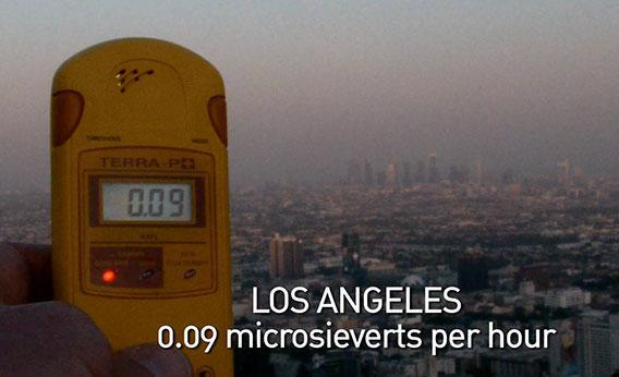 A geiger counter records the radiation level in Los Angeles in a scene from Pandora's Promise.