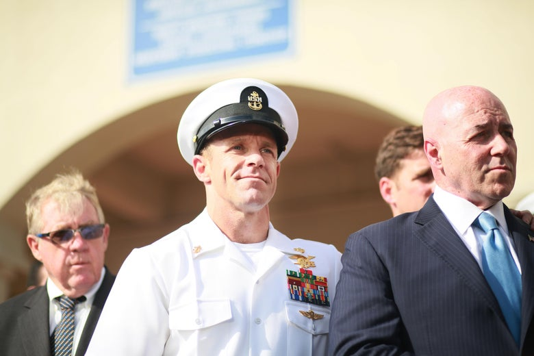 Navy Special Operations Chief Edward Gallagher celebrates after being acquitted of premeditated murder at Naval Base San Diego July 2, 2019 in San Diego, California.