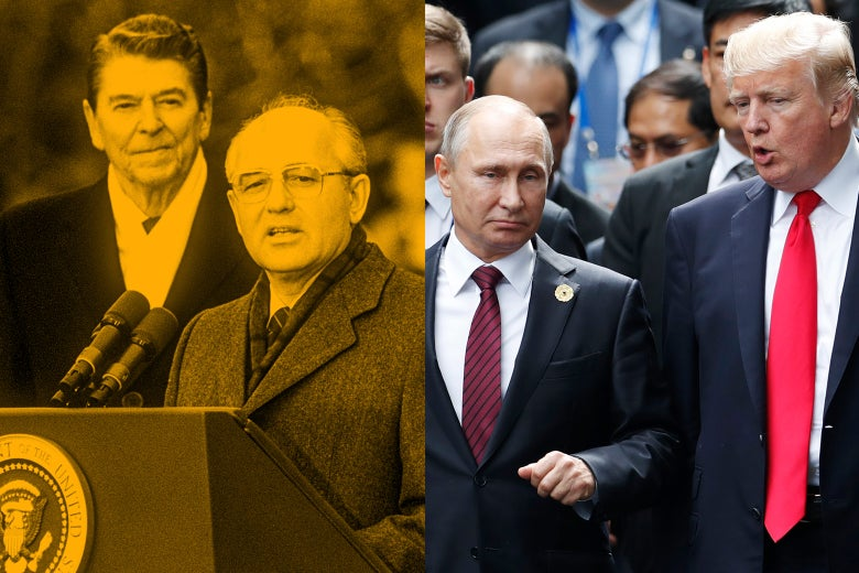 Side by side of President Ronald Reagan with Soviet leader Mikhail Gorbachev and President Donald Trump with Russia's President Vladimir Putin.