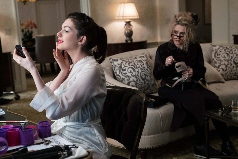 Anne Hathaway and Helena Bonham Carter in Ocean's 8.