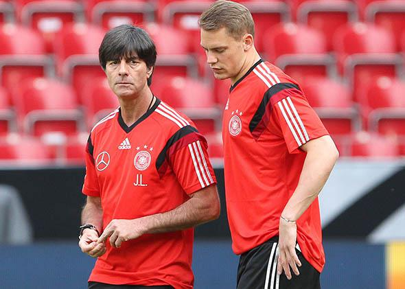 German head coach Joachim Löw, left, stands with goalkeeper Manuel Neuer at a public training session in Mainz, Germany, on June 5, 2014.