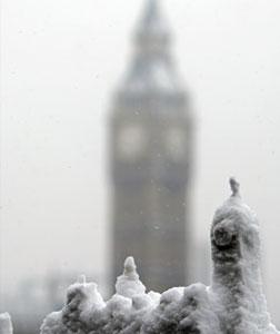 Snow sculpture outside Parliament. Click image to expand.