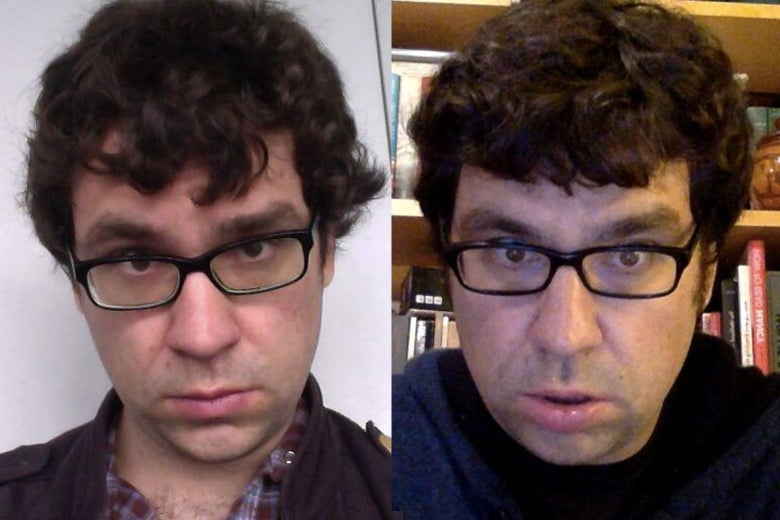 Justin Peters makes the same expression six years apart.