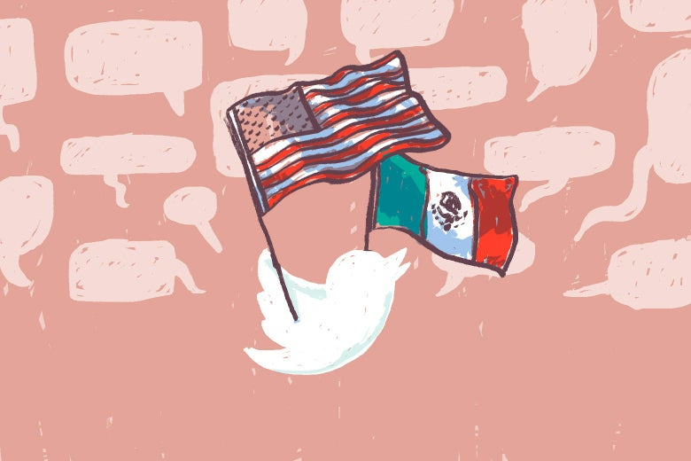 A white illustration of the Twitter bird is seen carrying U.S. and Mexico flags, with speech bubbles in the background.