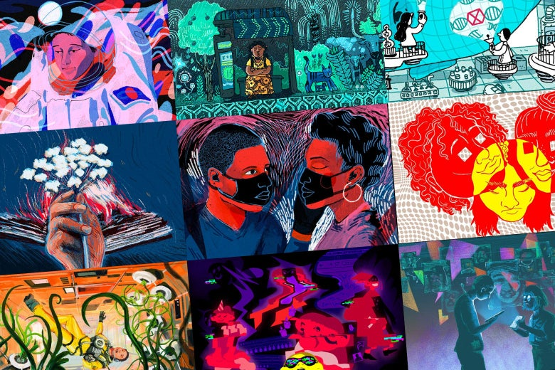 A collage of illustrations from this year's Future Tense Fiction series.