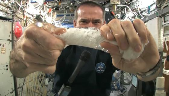 Chris Hadfield squeezing out a washcloth