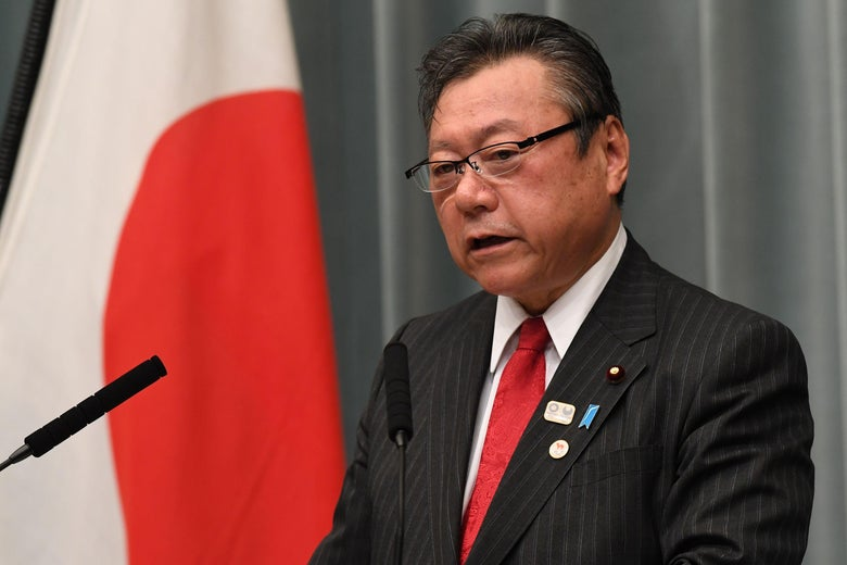Newly appointed state minister in charge of Tokyo 2020 Olympic and Paralympic games Yoshitaka Sakurada speaks during a press conference at the premier's official residence in Tokyo on October 2.