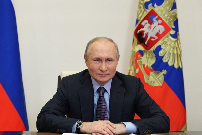 Russian President Vladimir Putin attends the launching ceremony of the Gazprom's Amur Gas Processing Plant, via a video conference, at the Novo-Ogaryovo state residence, outside Moscow, on June 9, 2021.