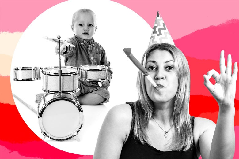 Aunt Mia blowing into a party horn and making an OK gesture next to a toddler playing the drums.