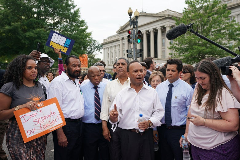 House Democrats protest the administration's family separation policy in Washington.