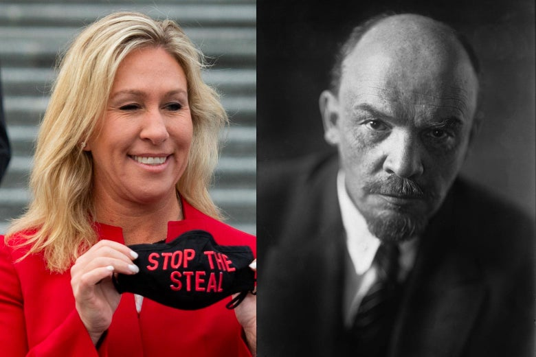 """Side-by-side photos of Marjorie Taylor Greene holding up a """"Stop the Steal"""" mask and Vladimir Lenin."""