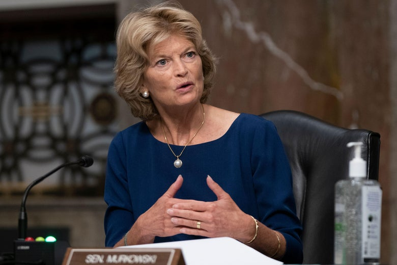 Senator Lisa Murkowski(R-AK) asks a question during a committee hearing in Washington, D.C. on Sept. 23, 2020.