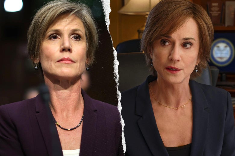 Sally Yates, and Holly Hunter as Sally Yates in The Comey Rule.