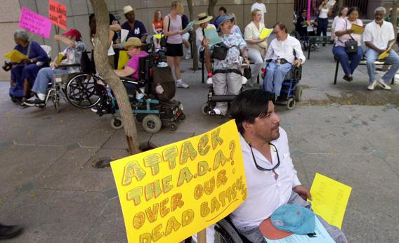 Disabled demonstrators rally in 2000 to protest the state of California''s challenge to the Americans with Disabilities Act.