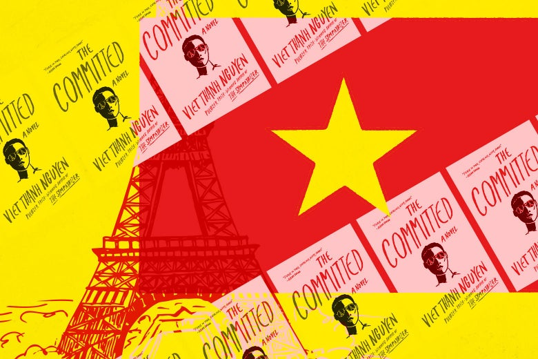 The Vietnam flag and covers of the book The Committed over an illustration of the Eiffel Tower.