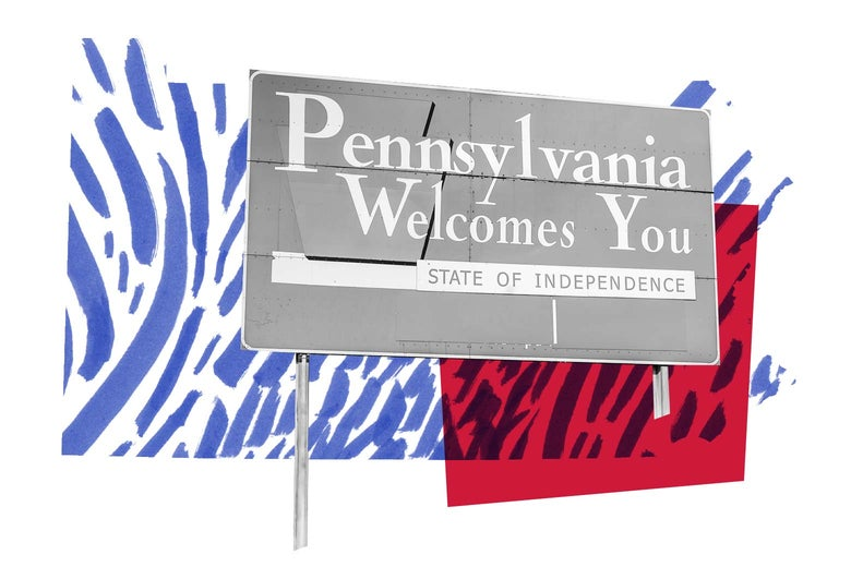 """A sign reads, """"Pennsylvania welcomes you."""""""