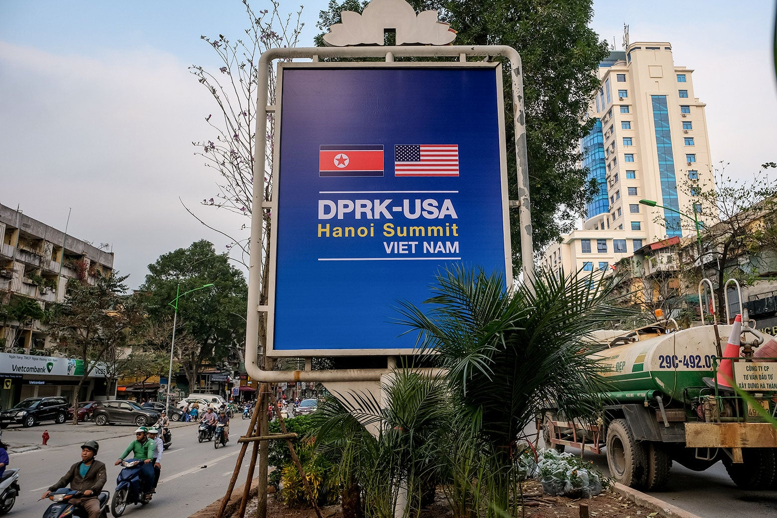 A public signboard welcomes the upcoming summit between U.S. President Donald Trump and North Korean Leader Kim Jong Un.