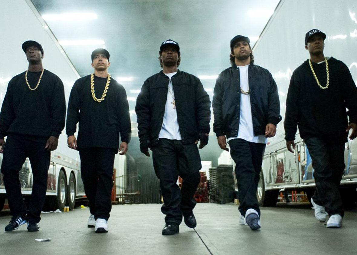 Aldis Hodge, Neil Brown Jr., Jason Mitchell, O'Shea Jackson Jr., and Corey Hawkins in Straight Outta Compton.