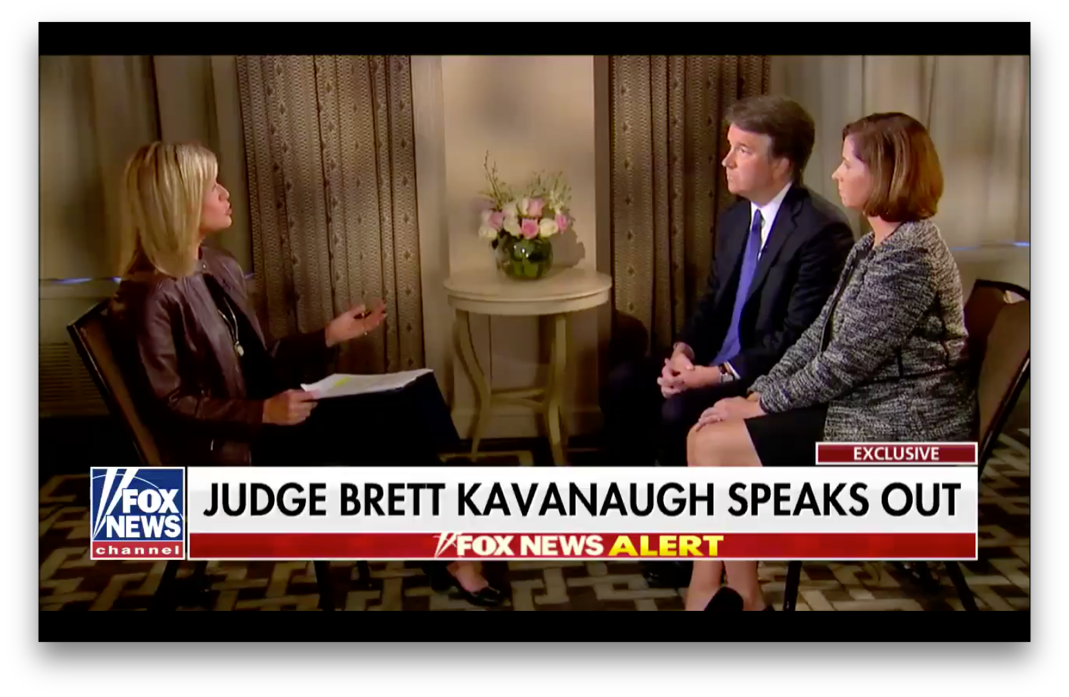 Brett Kavanaugh and his wife Ashley Estes Kavanaugh sit across from Fox News' Martha MacCallum.
