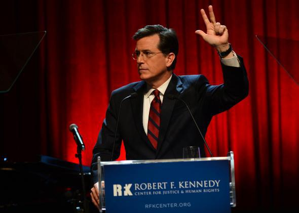 Stephen Colbert speaks onstage at Robert F. Kennedy Center For Justice And Human Rights 2013 Ripple Of Hope Awards Dinner at New York Hilton Midtown on December 11, 2013 in New York City.