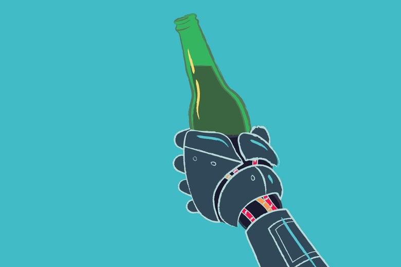 A robot hand holding a bottled beer