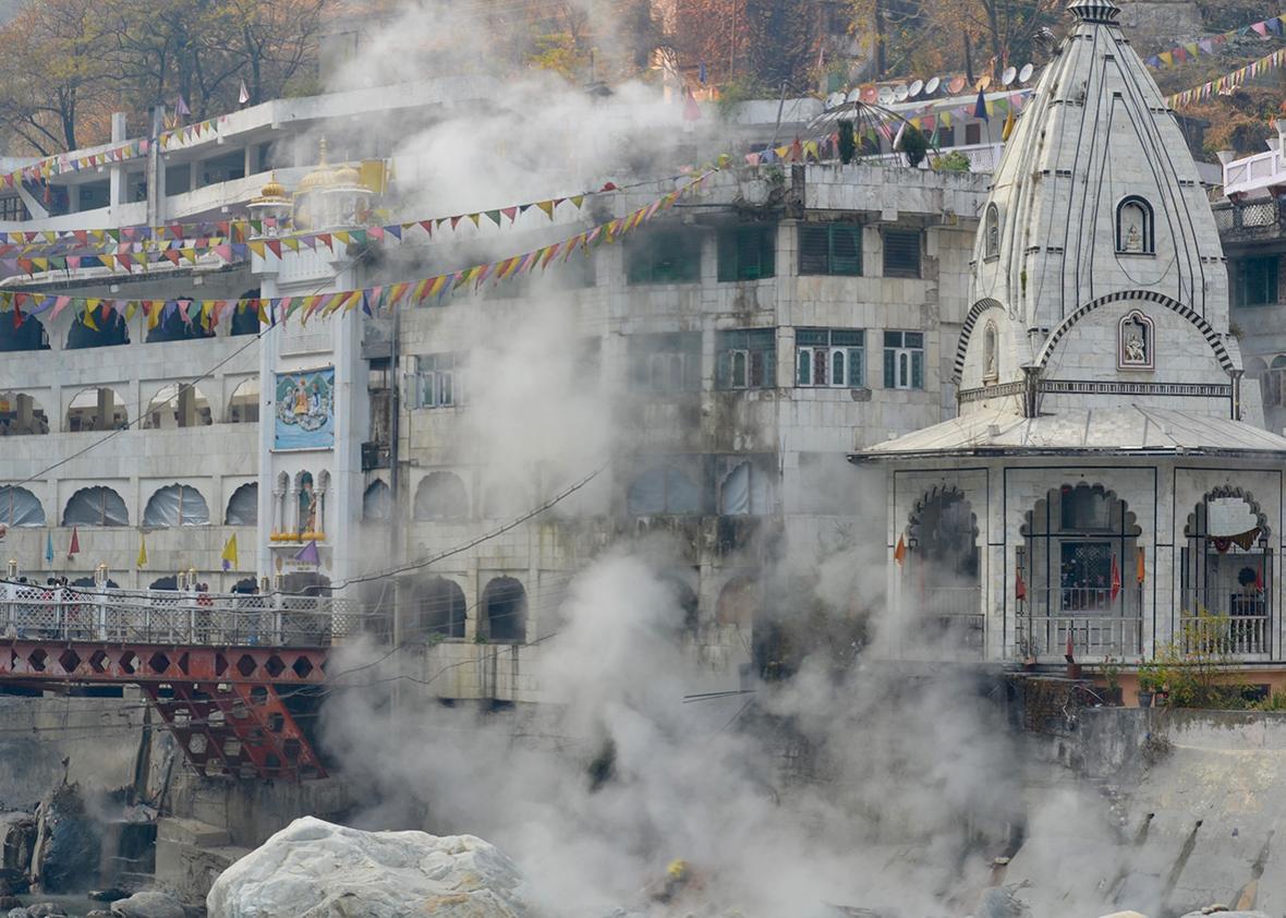 Manikaran's gurudwara, or Sikh temple, overlooking the village hot springs.