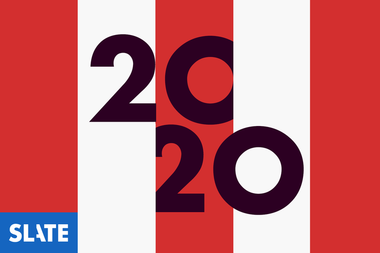 Illustration of the number 2020 inside the stripes of an American flag