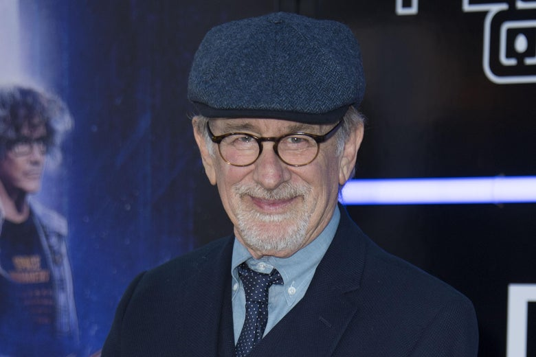 Steven Spielberg attends the Warner Bros Pictures World Premiere of Ready Player One at the Dolby Theater on March 26 in Hollywood, California. He is wearing a cool hat.