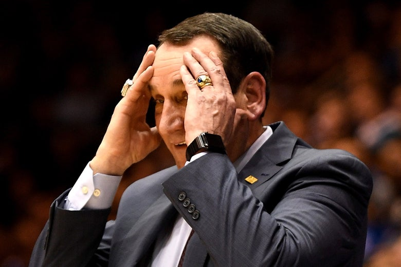 Mike Krzyzewski looking puzzled