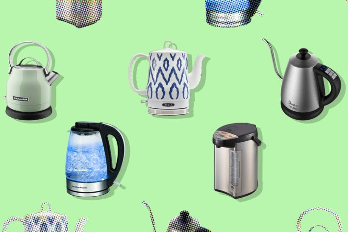 Collage of various electric kettles.