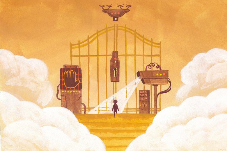 A person stands at the golden gates of heaven, with a drone hovering overhead.