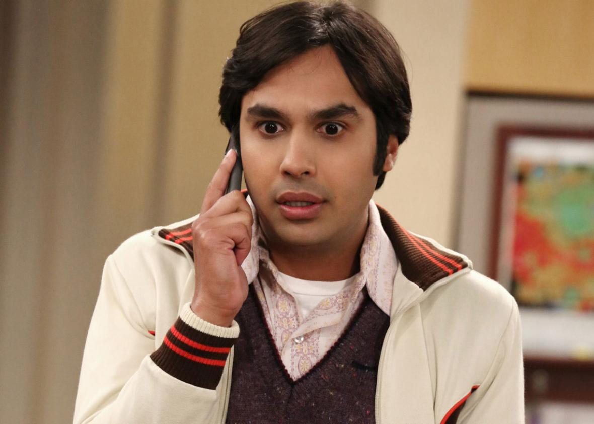 Kunal Nayyar as Raj on The Big Bang Theory.