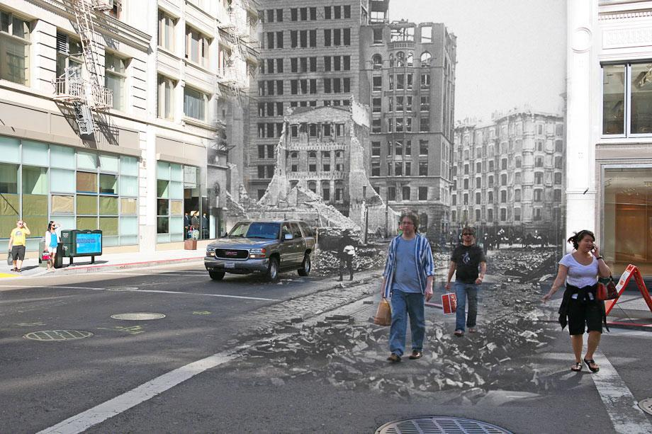 People walk through rubble on Geary Street.