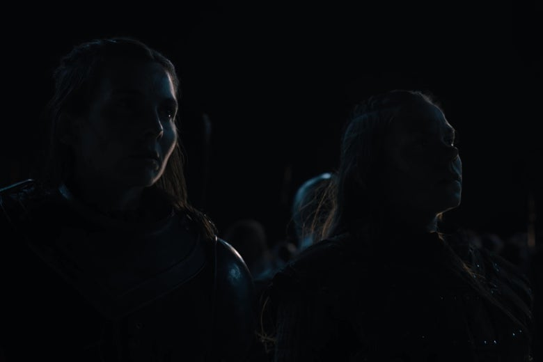 Two human Game of Thrones characters, staring out into darkness.