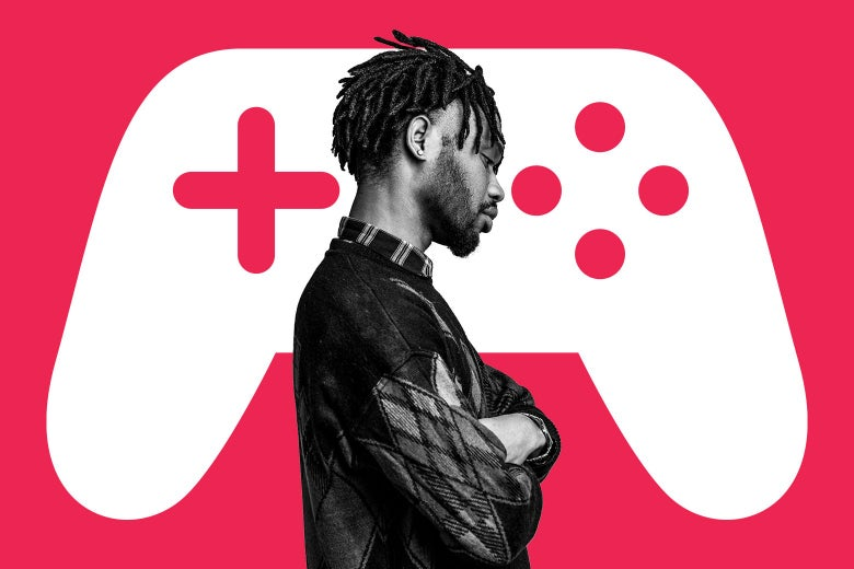 A man looking down with crossed arms over a background graphic of a video game controller