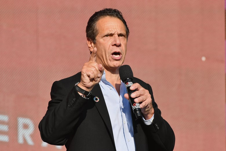New York Governor Andrew Cuomo speaks in Central Park on September 29, 2018 in New York City.