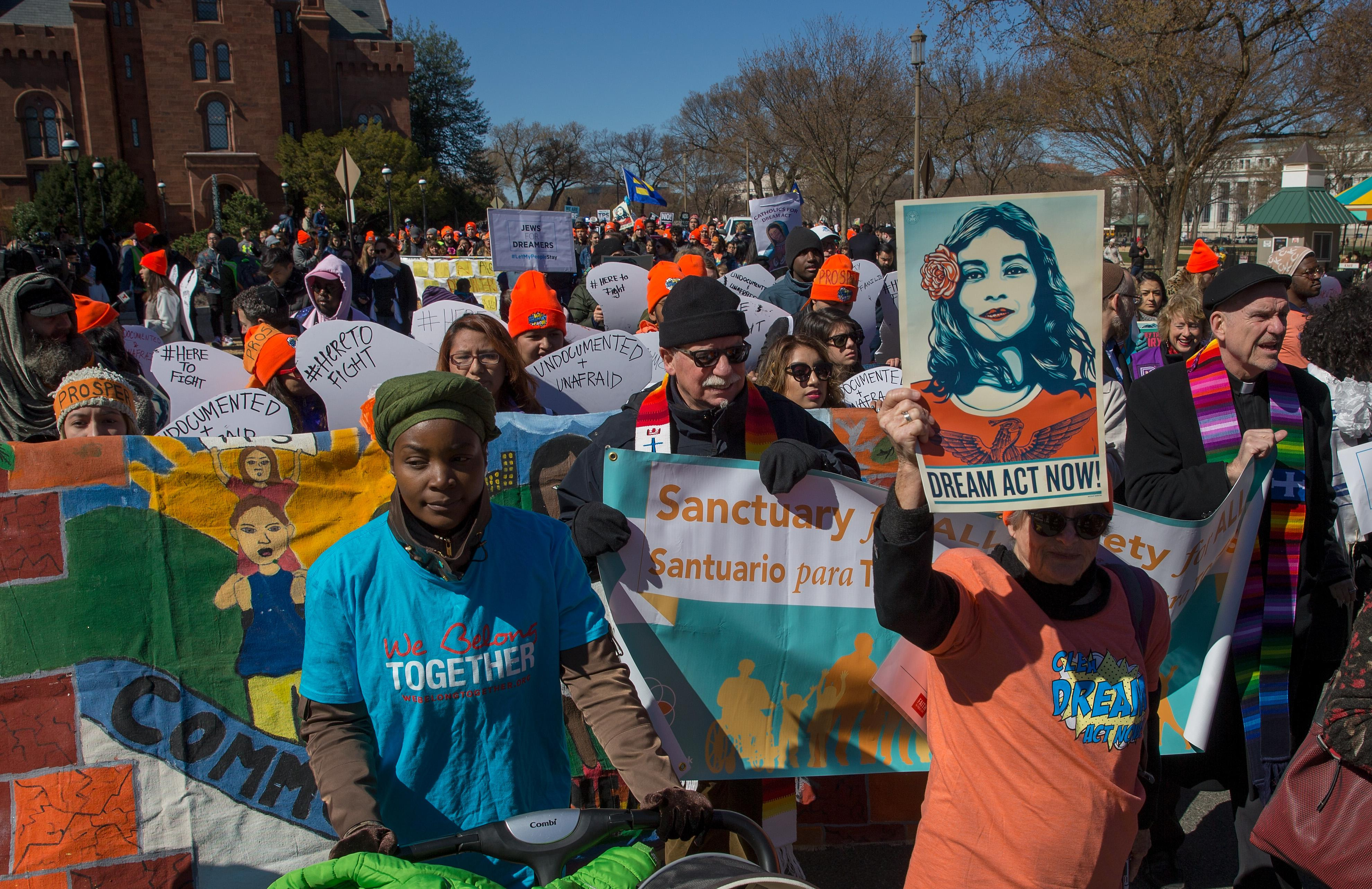 Pro DACA and Dreamer supporters march towards the US Capital on the National Mall on March 5, 2018 in Washington, D.C.