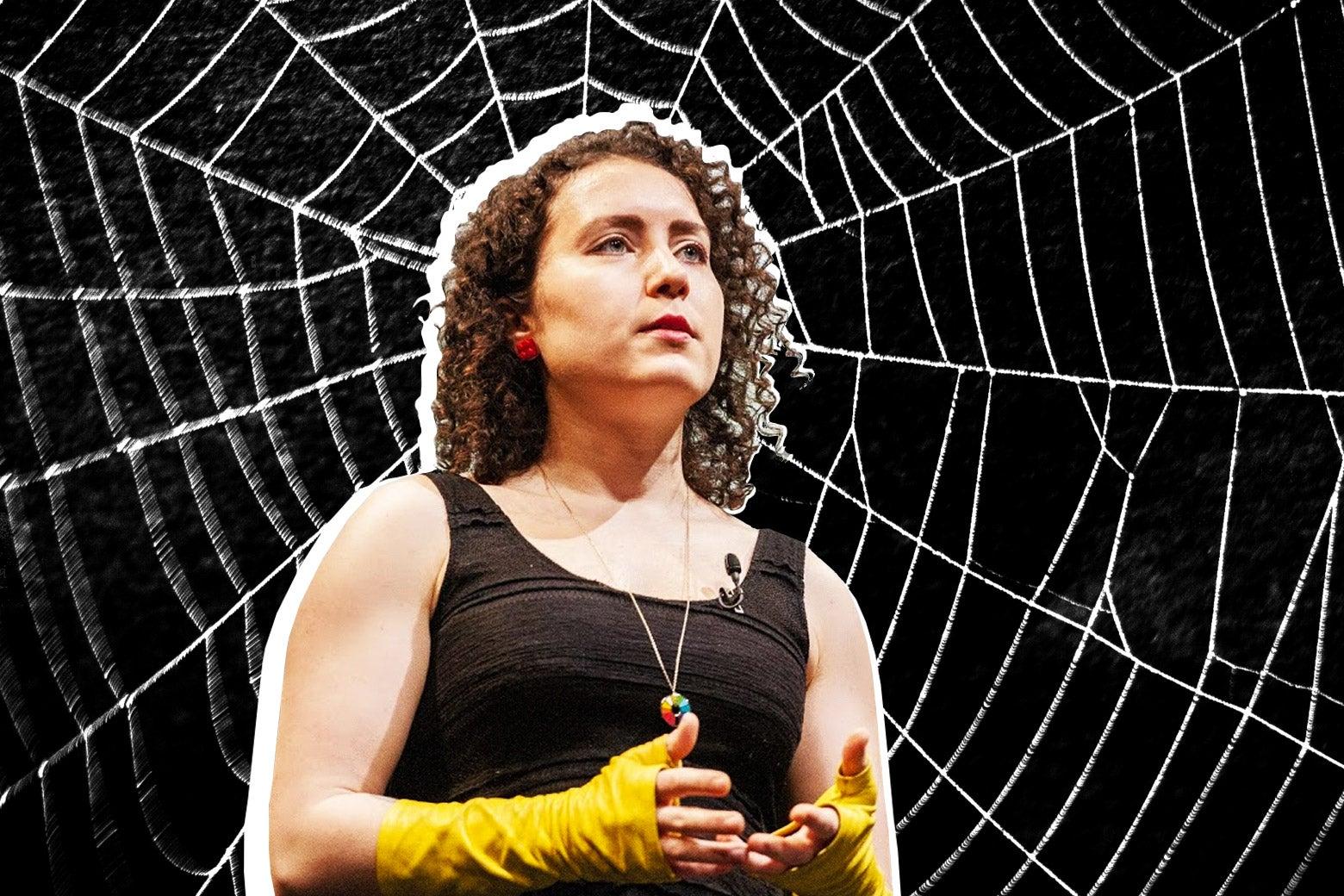 Collage of Maria Popova in a spiderweb.