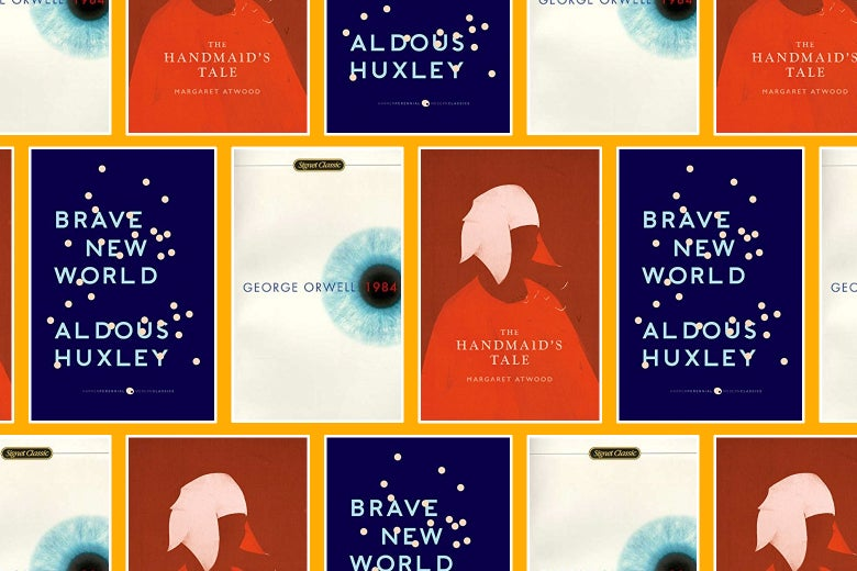 Collage of dystopian novels: 1984, The Handmaid's Tale, and Brave New World.