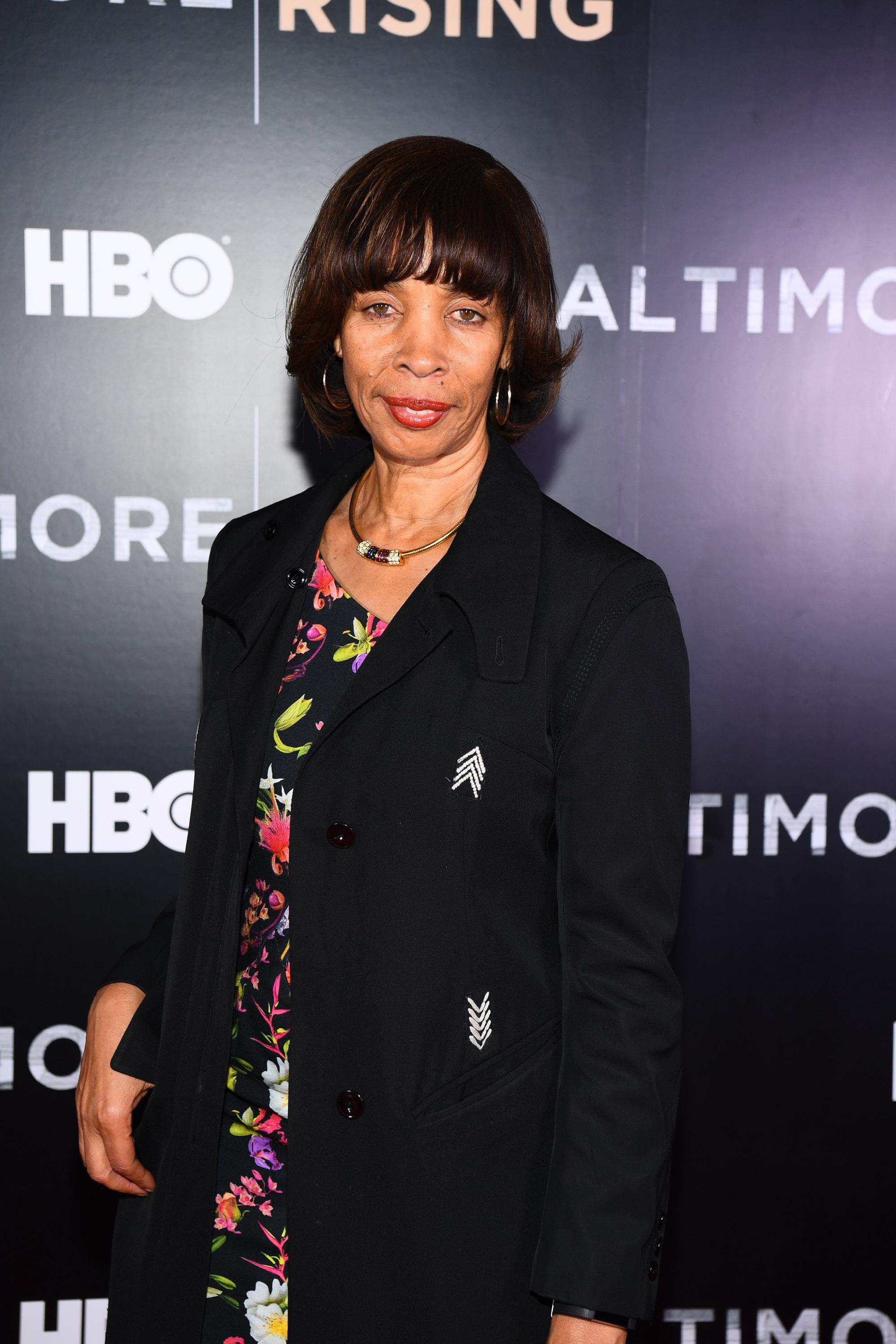 Catherine Pugh poses in front of an HBO background