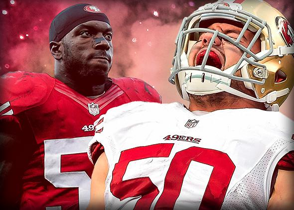 Patrick Willis and Chris Borland of the San Francisco 49ers.